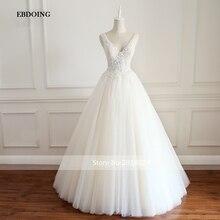 EBDOING Real Photo Wedding Dress A-line V-neck