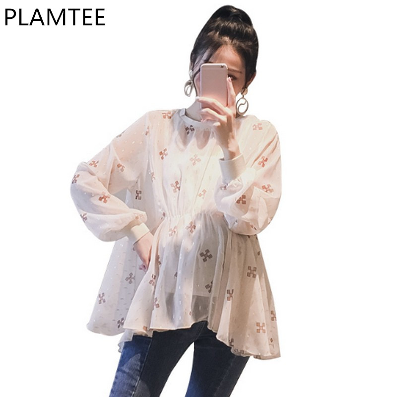 PLAMTEE 2Pcs Rouned Neck Maternity Doll Shirt 2018 New Spring Flower Printing A-Line Tops For Pregnant Women Maternity Clothing