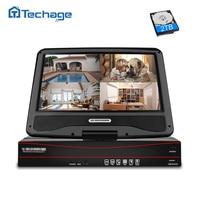 Techage 8CH 1080 P 48 В POE NVR 10,1 ЖК дисплей монитор Экран XMEYE 802.3af P2P ONVIF сети видео Регистраторы для 2MP POE IP Камера