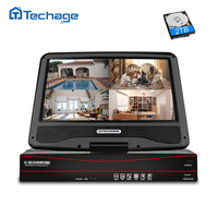 Techage 8CH 1080P 48V POE NVR 10.1 LCD Monitor Screen XMEYE 802.3af P2P ONVIF Network Video Recorder for 2MP POE IP Camera