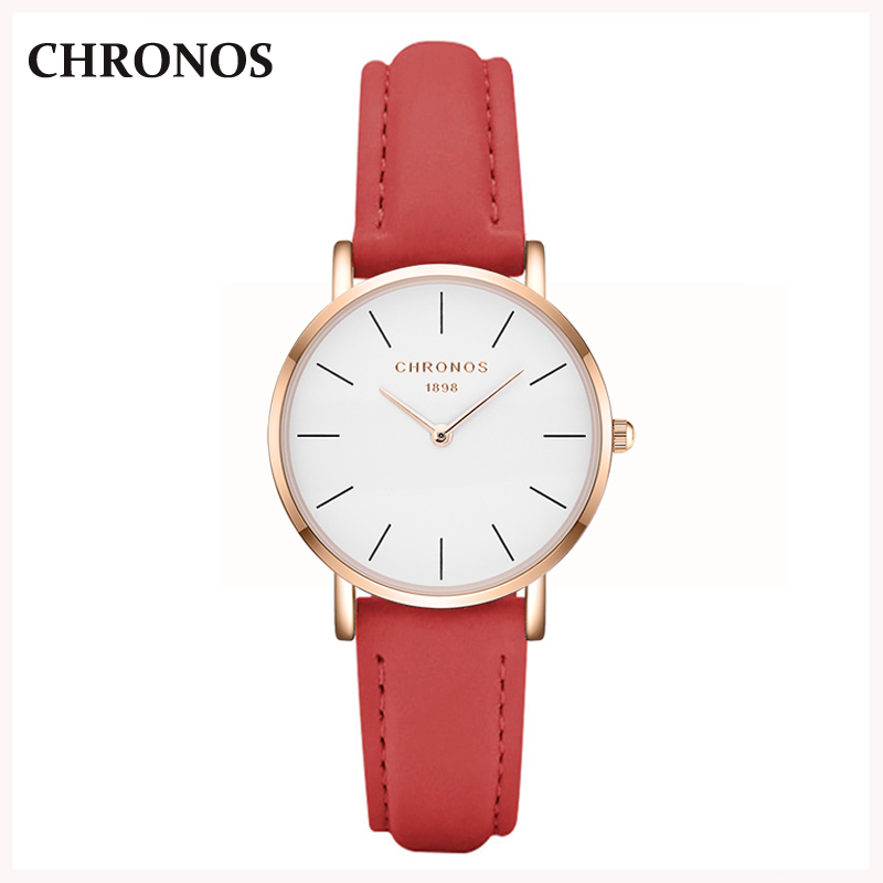 Chronos Woman Watch Women Leather Strap Quartz Wrist Watches Fashion Casual Ladies Watch Relogio Feminino