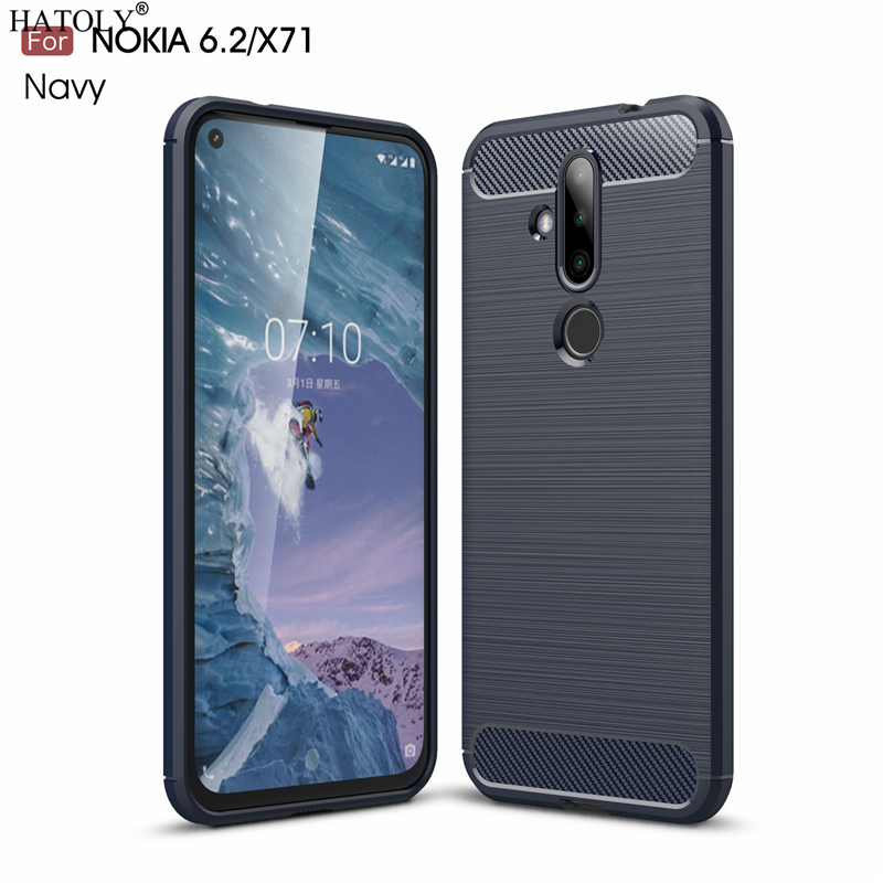 HATOLY For Capas Nokia 6.2 Case for X71 Anti-knock Soft TPU Brushed Rugger Silicone Phone Cases 6.39