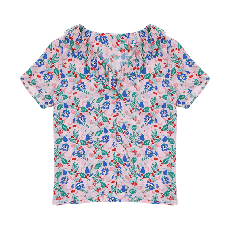 new A short sleeved top tanzanie portofino top in soft printed V neck frills Shirts with