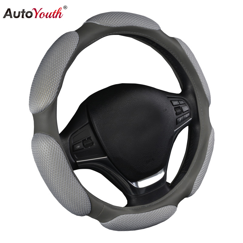AUTOYOUTH 38CM Car Steering Wheel Cover Universal Automobile Steering Wheel Cover Sandwich Fabric Styling Auto Accessories