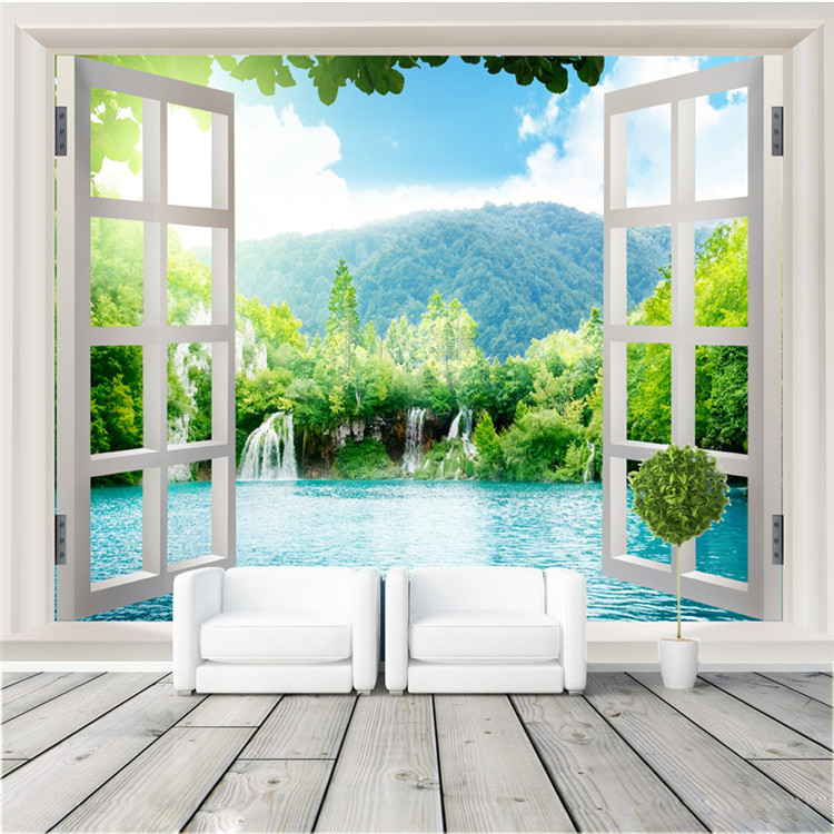 Window 3D Waterfalls Forest Wallpaper Custom Photo