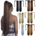"24"" Long Ponytail Clip In Pony Tail Synthetic Hair Extensions Wrap on Hair Piece Straight Style Top Quality Drawstring Ponytails"