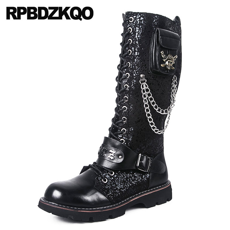 Winter Waterproof Vintage Motorcycle Boots Tall Glitter Men Runway Embellished Punk Shoes Black Mid Calf Metalic Fur Plus Size plus size bowknot embellished tunic top