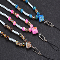 Pearl necklace Lanyard for cell phone key Mobile Phone Straps Keychain mobile chain straps Charm Cords Hang Rope Lanyard neck