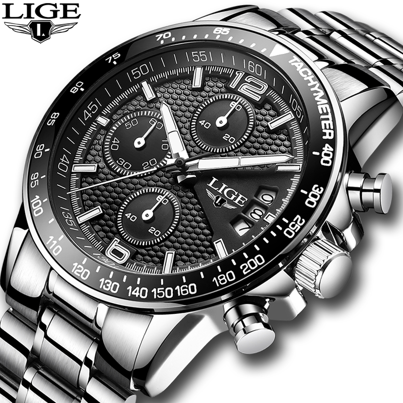 LIGE Mens Watches Top Brand Luxury Stopwatch waterproof Quartz analog