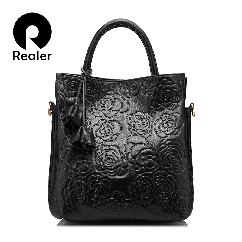 REALER brand genuine leather handbag female leather black tote bag high  quality floral embossed handbag ladies shoulder bag 6d04733101