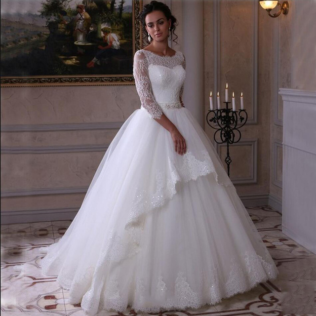 Elegant White Lace Ball Gown Princess Wedding Dress 2016