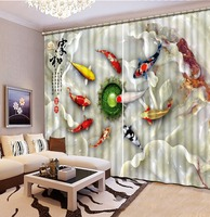 Home Decor Decoration 3D Curtain Jade Carving Pattern fish Modern Curtains For Bedroom 3D Curtain Window Blackout Curtains