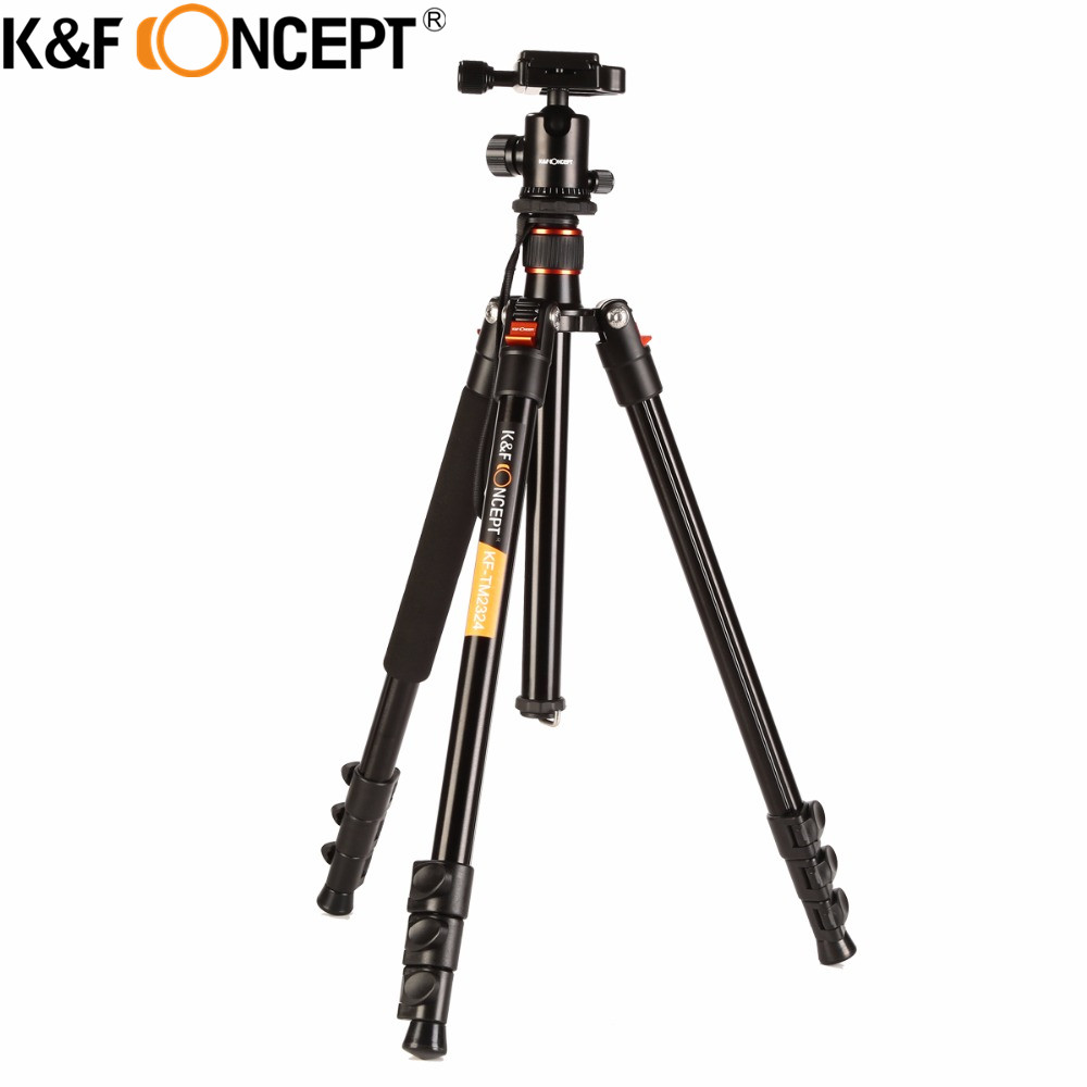 K&F CONCEPT Professional Portable Stable Magnesium Aluminum Alloy 4-Sections Camera Tripod+ Ball Head for DSLR Camera zomei z888 portable stable magnesium alloy digital camera tripod monopod ball head for digital slr dslr camera