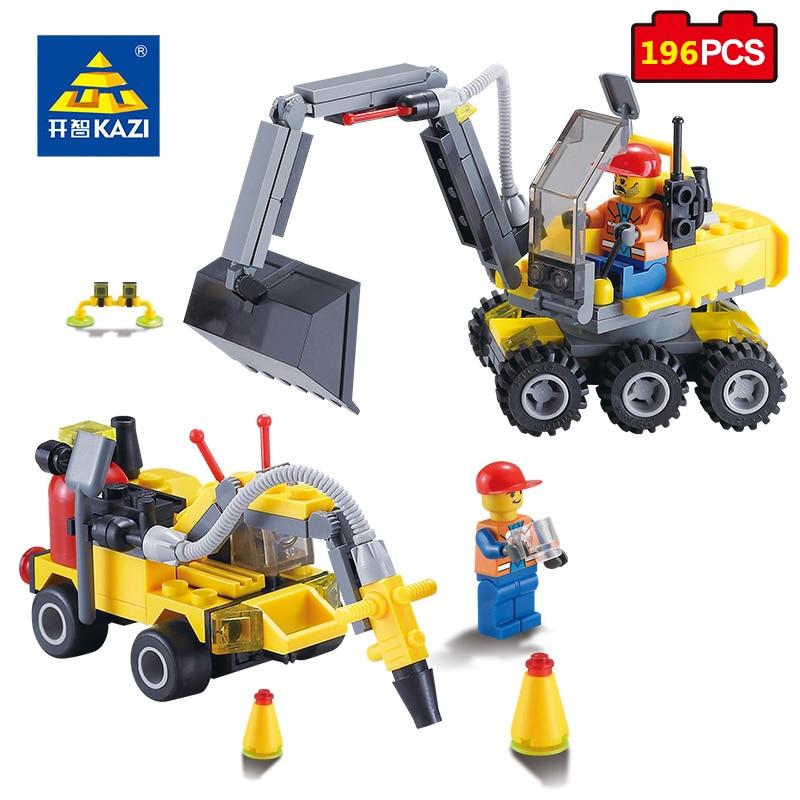 KAZI Toys City Construction Series Building Blocks DIY 2 IN 1 Excavator Educational Bricks Gift For Kids Compatible Legoed City