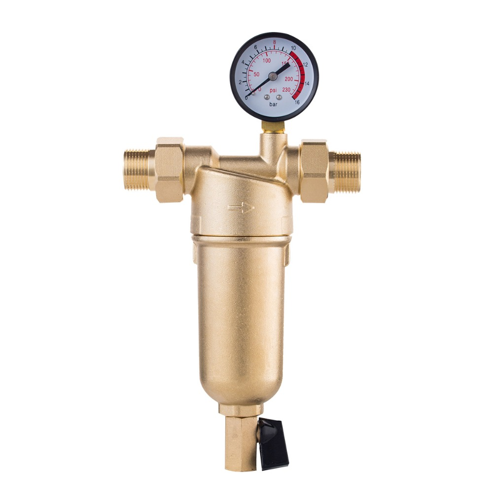 Siphon Backwas Pre-filter Water Filter Purifier System Pure Brass Body Stainless Steel Mesh Prefiltro With Gauge Free Shipping