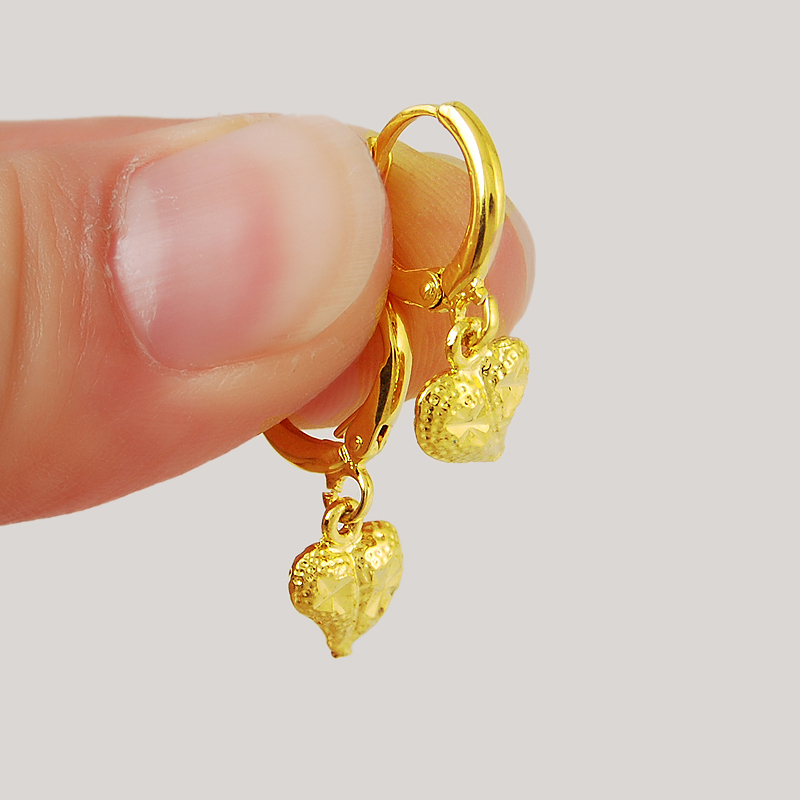 2015 New Design High Quality 24K Yellow Gold Colou Heart Dangle ...