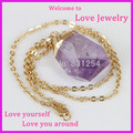 1PC Fashion Jewelry Natural Rock Big Stone Amethyst Quartz Cubic Purple Crystal Druzy Pendant Gold Plated Chain Necklace Women