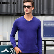 Free Shipping Solid Color Classic V-Neck Sweaters Winter Warm 100% Real Merino Woolen Sweater Men Knitted Cashmere Pullover 6346