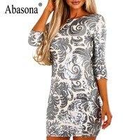 Abasona Women Sequin Dresses Vintage Style O Neck Evening Party Dress Elegant Ladies Sparkling Bodycon Pencil