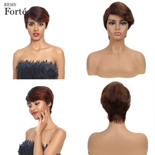 Remy Forte Short Real Human Hair Wigs 100% Brazilian U Part  Lace Ocean Wave Colored Breathable Cheap