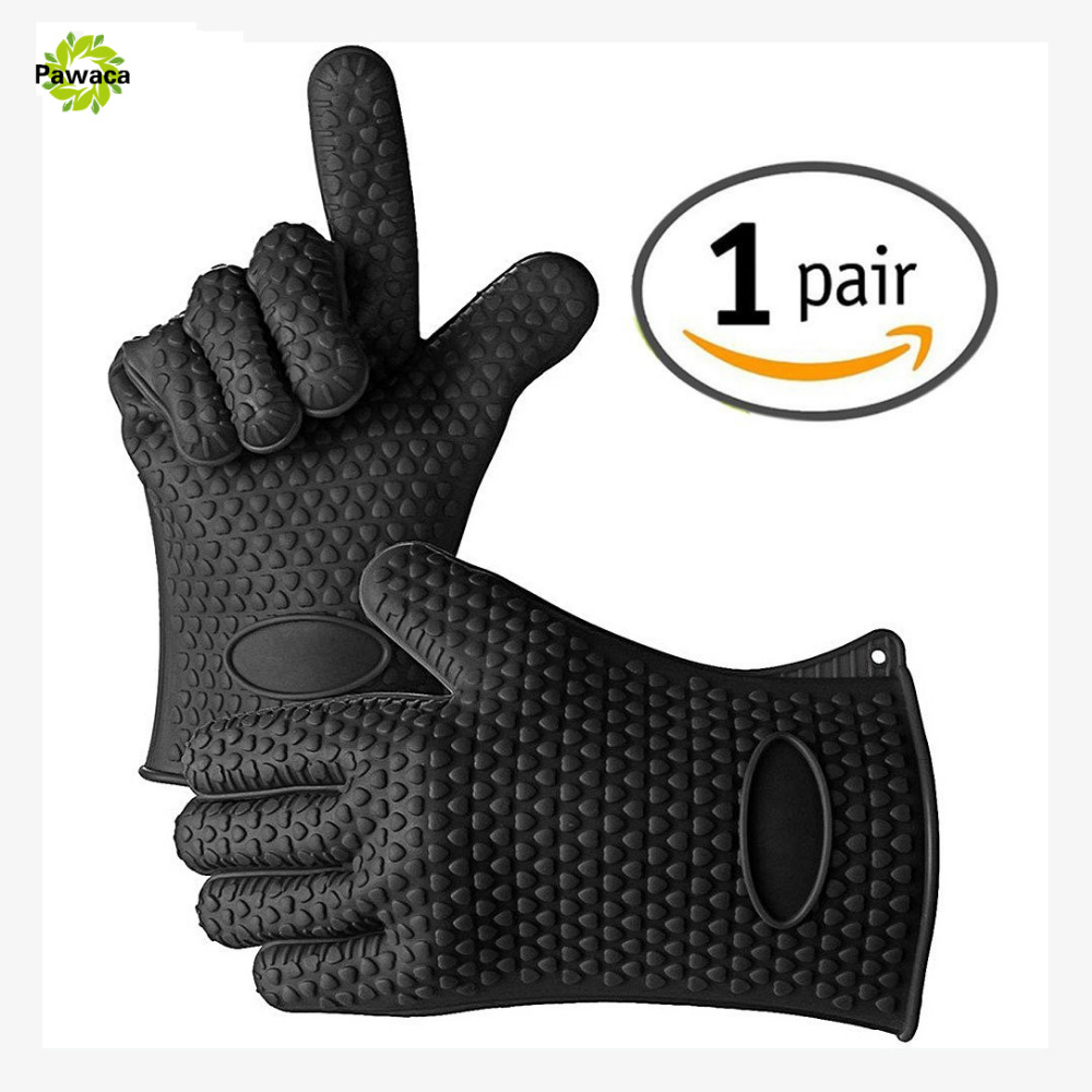 New 2pcs Food Grade Thick Heat Resistant Silicone Glove BBQ Grill Gloves Kitchen Barbecue Oven Cooking Mitts Grill Baking Gloves