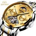 KINYUED Топ для мужчин Роскошные модные деловые Часы Автоматический Скелет турбийон механические часы для мужчин фазы Луны дисплей часы
