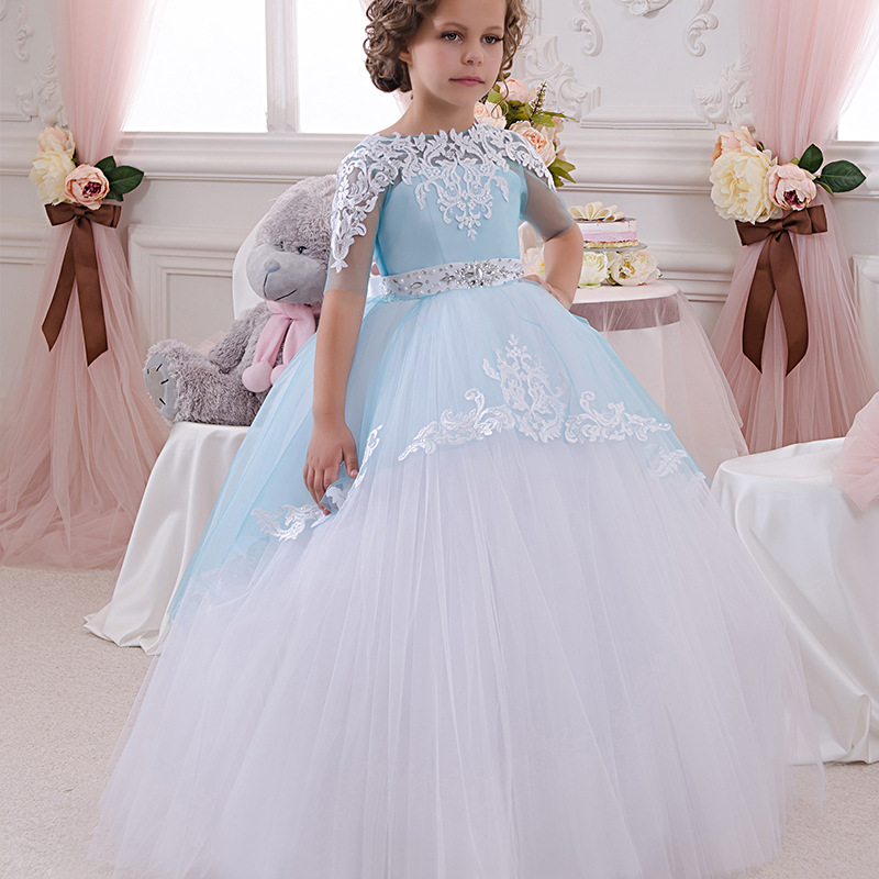 U-SWEAR 2019 New Arrival Light Blue   Flower     Girl     Dresses   Lace Flora Embroidery Beaded Belt   Flower     Girl   Pageant Ball Gown Vestido