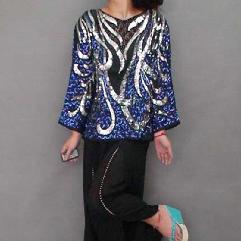 Livraison gratuite 2016 nouveau mode à la main paillettes hauts pour vêtement d'extérieur pour femmes tendance nationale élégant grande taille magnifique chemise chinoise