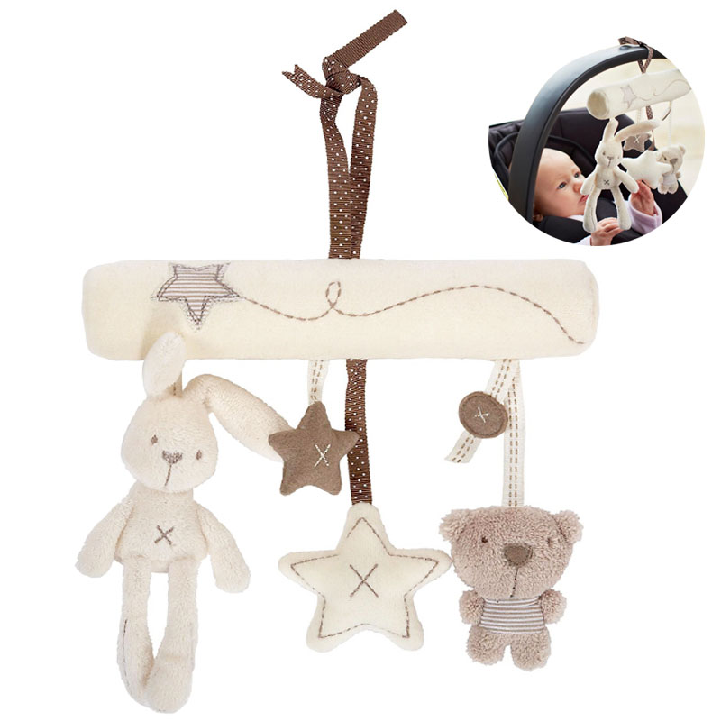 cute cartoon rabbit musical baby toys bed crib car safety seat plush toy soft multifunctional. Black Bedroom Furniture Sets. Home Design Ideas