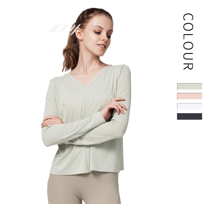 <+>  Женщины сплошной цвет красоты обратно йога одежда рубашки с длинными рукавами быстросохнущие спортив ✔