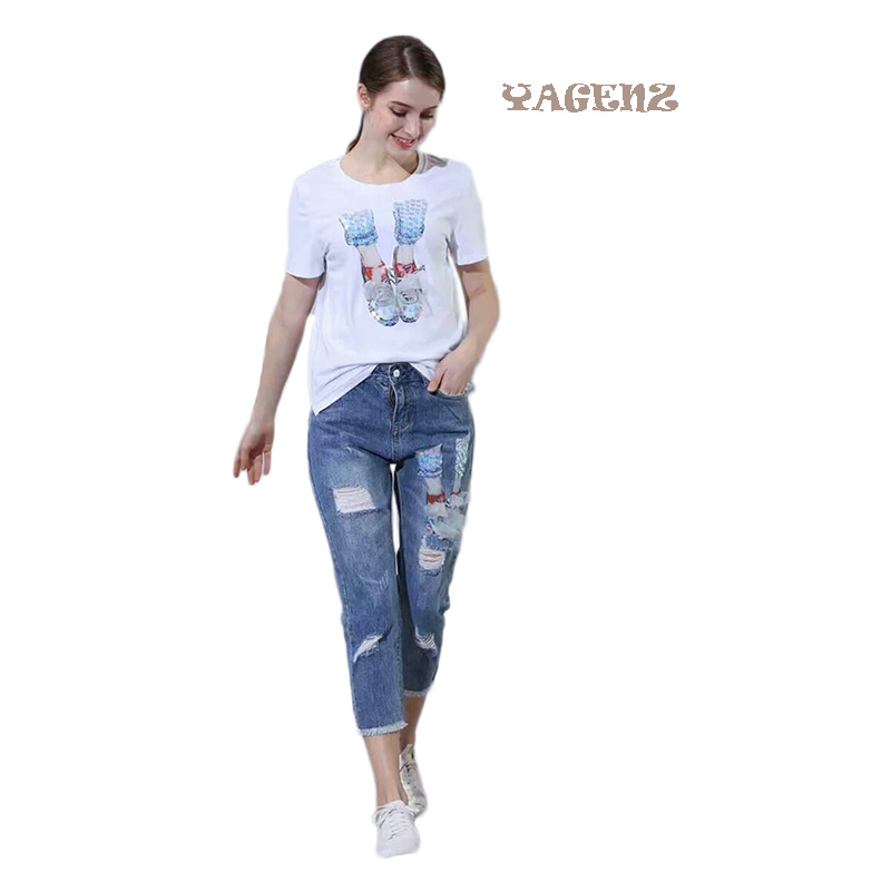 2017 Leisure Two Piece Set Women Sequined Bird Pattern Tshirt Ripped Denim Pants Flowers Jeans Woman Suit Cotton Tees+Cropped