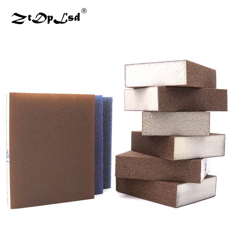 1PC Double-sided Polishing Sponge Sandpaper Sanding Block Pad Set Wood Metal Derusting Double Side Sand Descaling Cleaning Brush