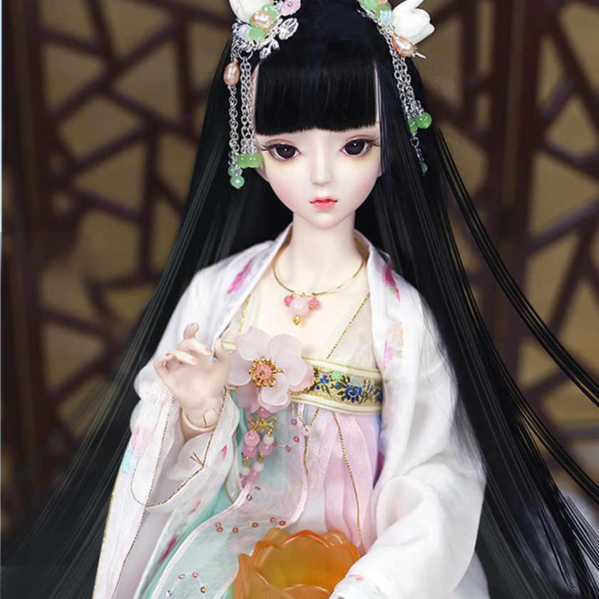 Fortune day 1/3 bjd 62cm corpo comum boneca pele branca cabelo preto com roupas sapatos cocar, ai yosd msd kit sd brinquedo