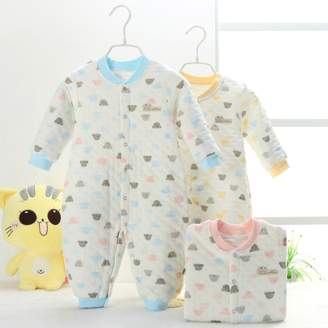 Baby clothes and baby clothes long sleeved winter pajamas cotton underwear thickened newborn children