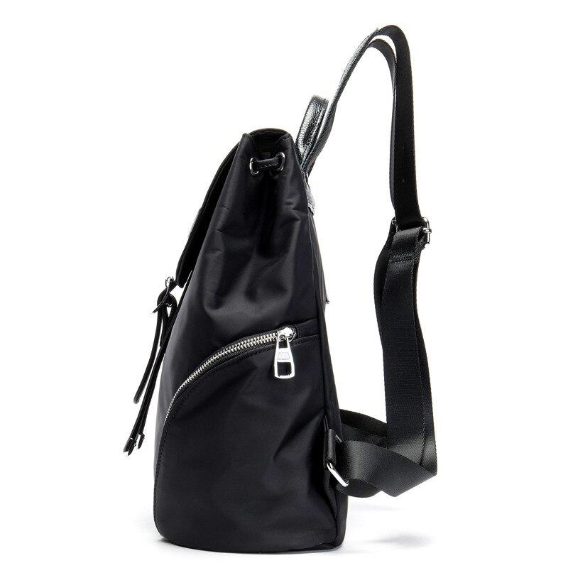 PNDME genuine leather backpack student bag fashion motorcycle Women 39 s backpack black shoulder bag in Backpacks from Luggage amp Bags