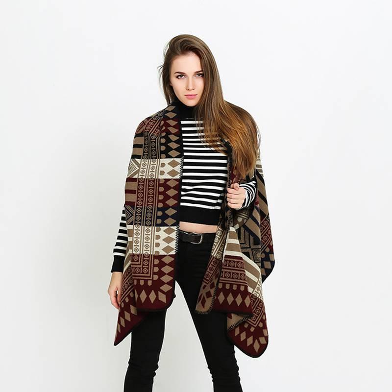 Fashion font b Tartan b font Foulard Women Winter Luxury Brand Pattern Poncho Thick Pashmina Mujer