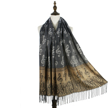 jzhifiyer scarf female fringe music note G-clefs fashion Jacquard scarf pashmina shawl wrap winter scarf woven shawls bandana