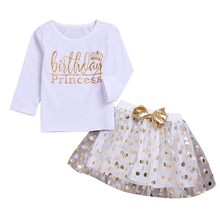 Toddler Kids Girls clothes set Kid Baby girls Clothes Birthday Letter Dot Print Bowknot Tops Tshirt+Tutu Skirt Children Clothing(China)