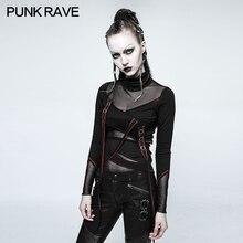 Панк рейв сексуальный рок черный визуальный kei Девушки Мода Повседневная футболка Топ с длинным рукавом T480