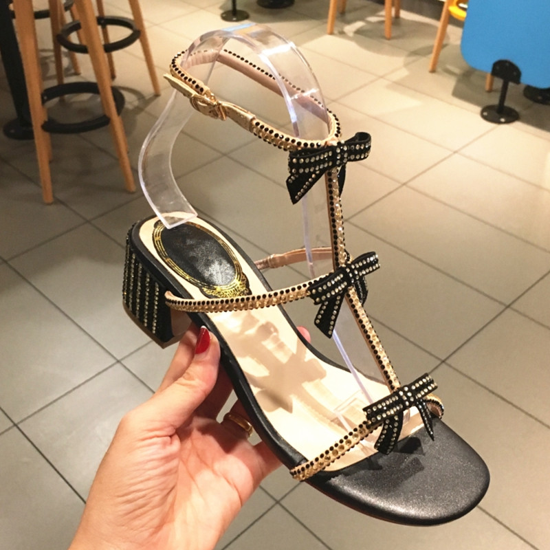 Rhinestone Gladiator Sandals Bow-knot Summer Shoes Woman T-tied Crystal Thick Heels Zapatos Mujer Soft Leather Sandalias Shoes hongyi women motorcycle biker ankle boots glossy leather rhinestone crystal ridding bootie bow butterfly knot shoes thick heels