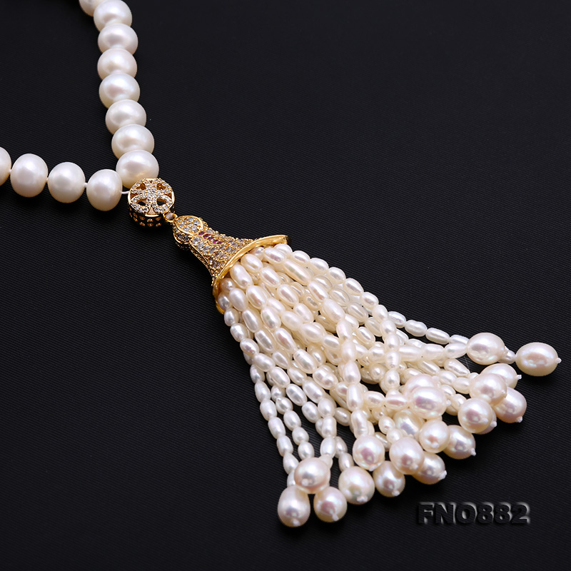 JYX Long tassel Pearl Necklace for women 8.5-9.5mm White Near Round Natural Freshwater Pearl Chains цена