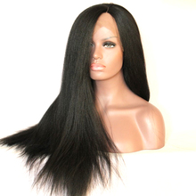 DLME yaki straight heat resistant fiber hair half hand-tied synthetic lace front wig for africa america women wigs