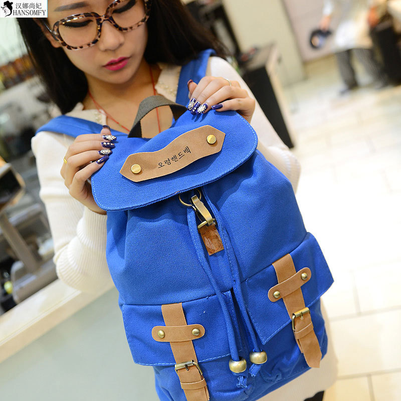 HANSOMFY The New Letter Printing Belt Decoration Korean Fashion Double Back Student Canvas Bag Shoulder Bag
