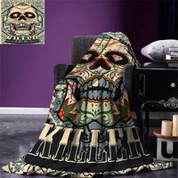 Sugar Skull Decor Throw Blanket Sugar Killer Calaveras Framework Day of the Dead Vintage Gothic Design Warm Microfiber