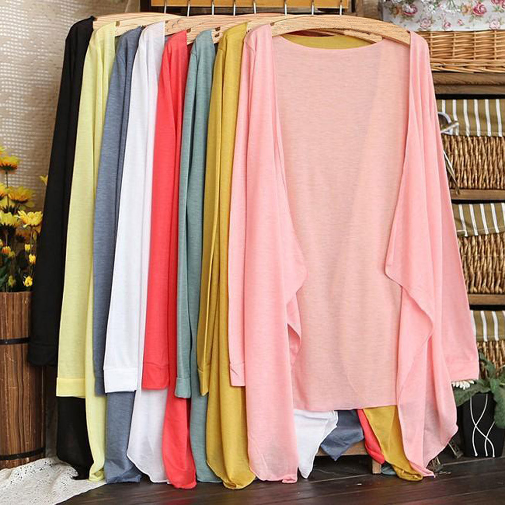 l Verano pink Blue Blue green Solar Casual beige gray White A Sudadera Largo Delgado Protección yellow orange light Modal pink Ropa black Blusa Tops sky blue yellow Mujeres Blue Cardigan Uqtwgg