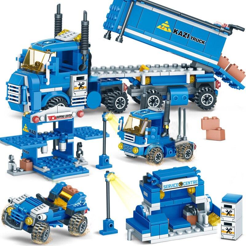 Nouveau 318 pièces 4 en 1 fret urbain blocs de construction compatibles LegoINGlys ville camion blocs briques à monter soi-même jouets éducatifs pour les enfants