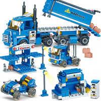 Novo 318 pçs 4 em 1 blocos de construção de frete urbano compatível legoinglys cidade caminhão blocos tijolos diy brinquedos educativos para crianças