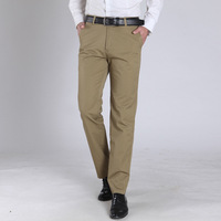 Middle Aged Men S Casual Pants Solid Color Thin Slim Fit Straight Cotton Trousers Mens Clothing