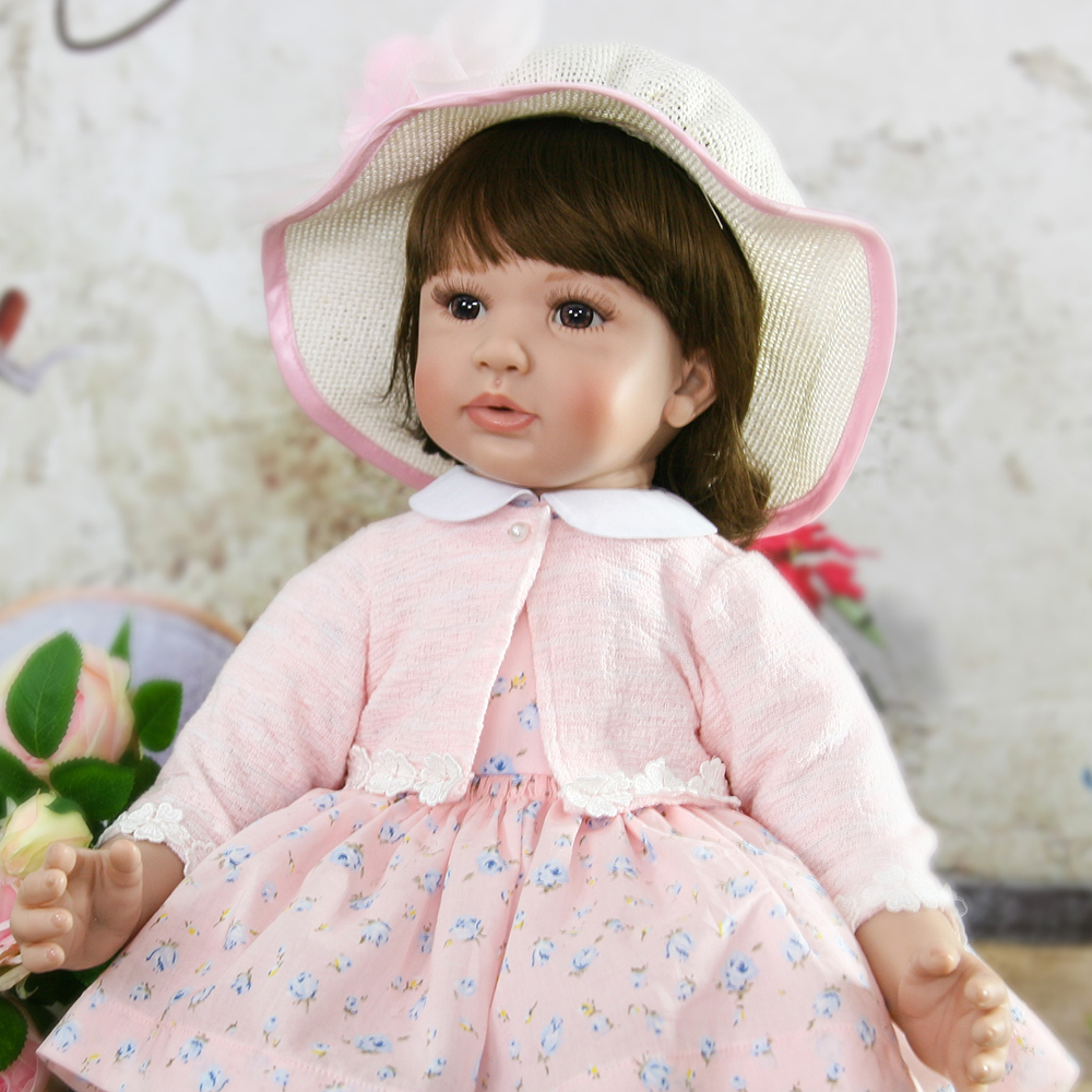 Adora Pink Dress Soft Reborn Silicone Baby Girl Doll Lifelike Princess Toddler Girl Doll ...
