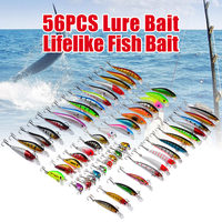 Bobing 56Pcs Lot Mixed Fishing Lures Set Wobbler Crankbaits Swimbait Minnow Hard Baits Spinners Carp Fishing